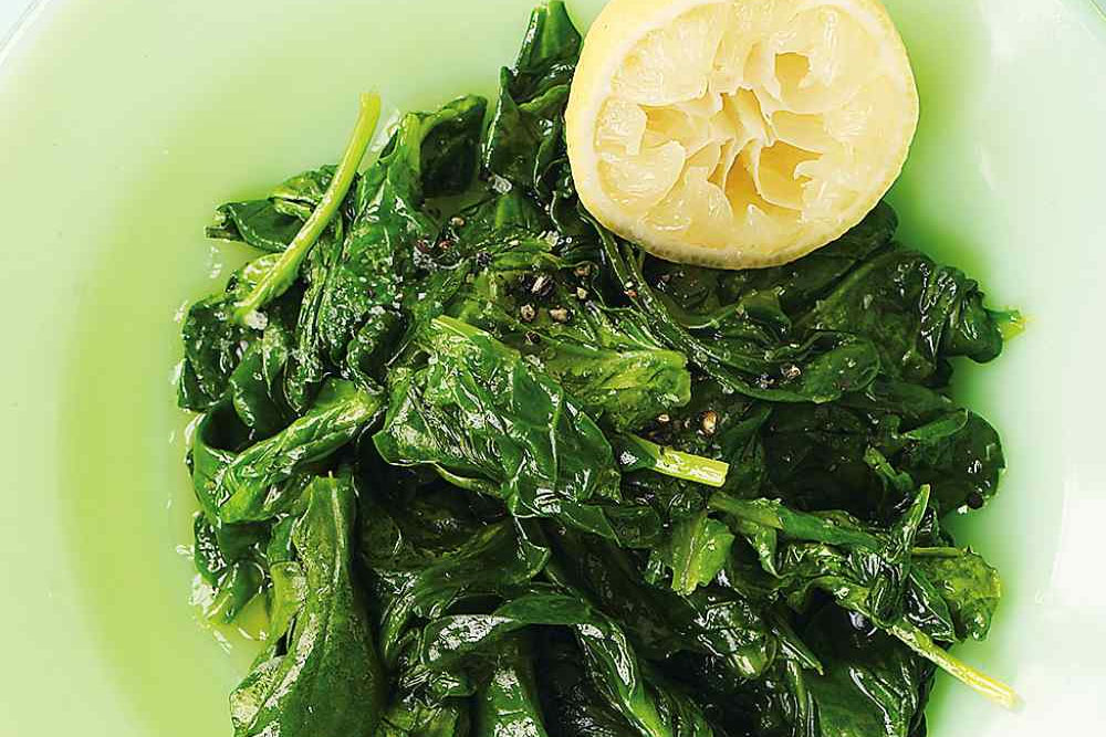 Meyer Lemon Olive Oil, Sautéed Spinach